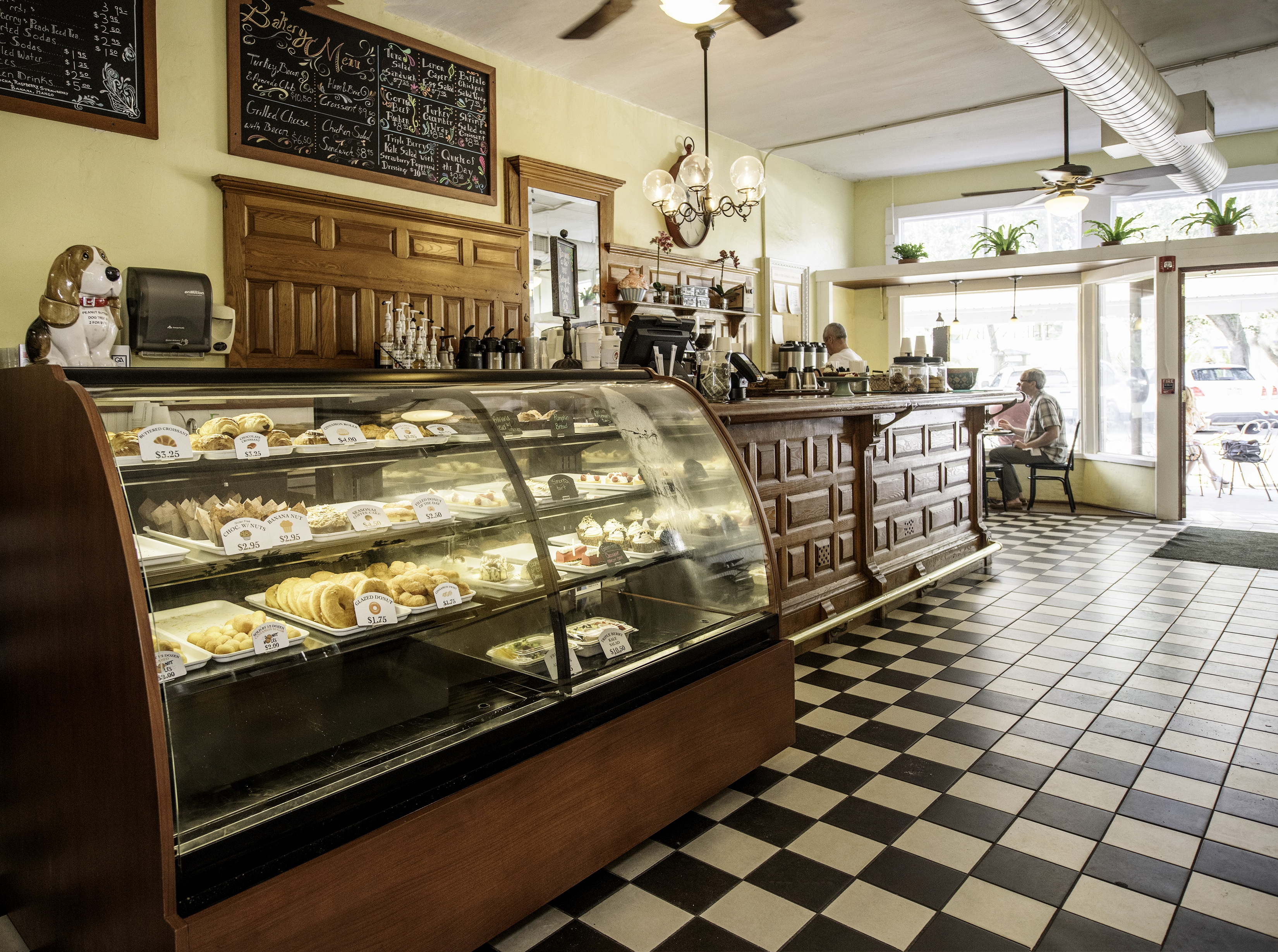 Bakery interior with pastries