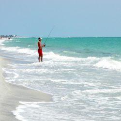 Fisherman Fishing in the Ocean